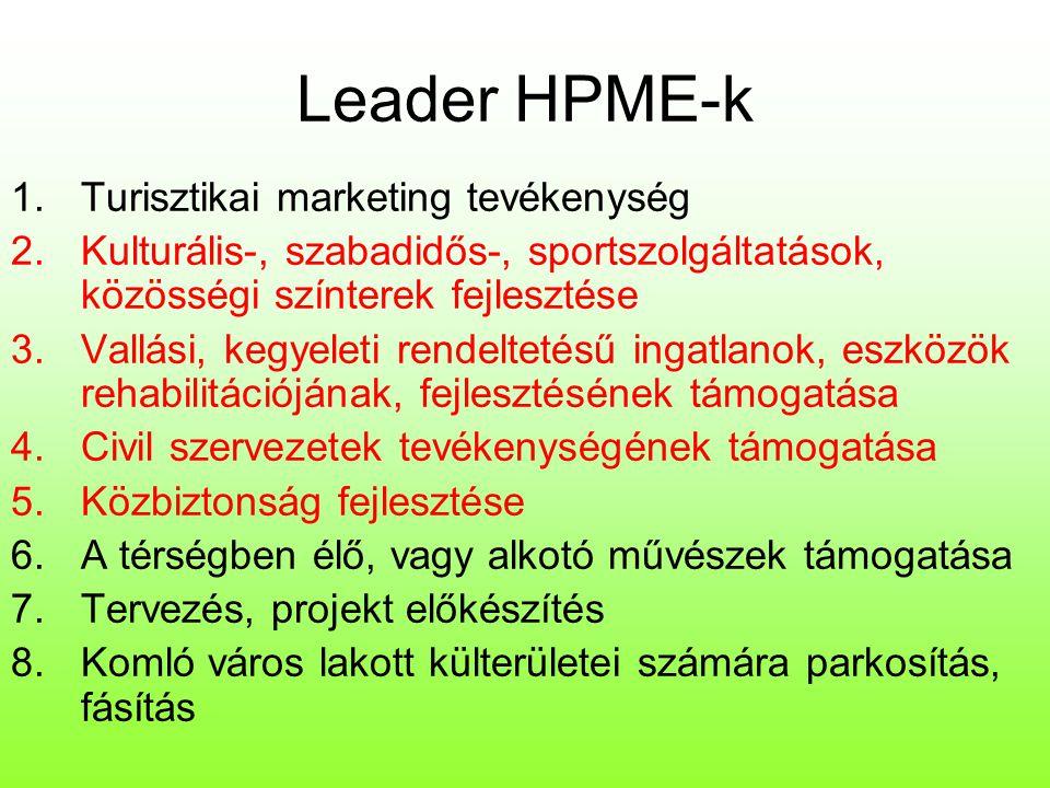 Leader HPME-k 9.Témaparkok, tanösvények kialakítása, túraútvonalak, tematikus táborok 10.