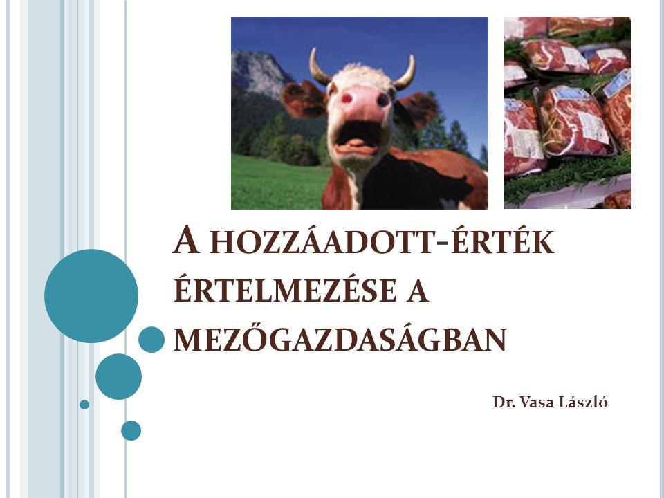 A HOZZÁADOTT - ÉRTÉK ÉRTELMEZÉSE A MEZŐGAZDASÁGBAN Dr. Vasa László