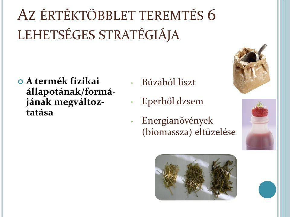 A Z ÉRTÉKTÖBBLET TEREMTÉS 6 LEHETSÉGES STRATÉGIÁJA A termék fizikai állapotának/formá- jának megváltoz- tatása Búzából liszt Eperből dzsem Energianövények (biomassza) eltüzelése