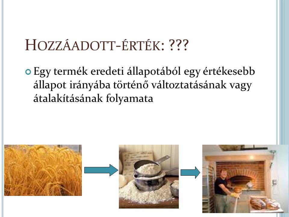 H OZZÁADOTT - ÉRTÉK : ??? Egy termék eredeti állapotából egy értékesebb állapot irányába történő változtatásának vagy átalakításának folyamata