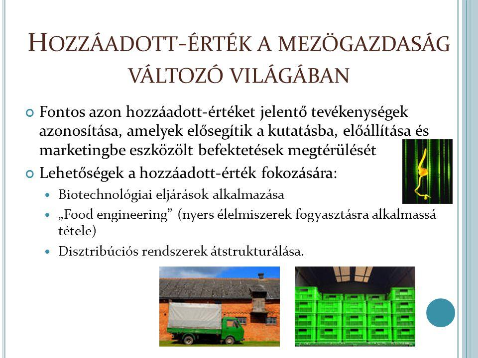 """H OZZÁADOTT - ÉRTÉK A MEZŐGAZDASÁG VÁLTOZÓ VILÁGÁBAN Fontos azon hozzáadott-értéket jelentő tevékenységek azonosítása, amelyek elősegítik a kutatásba, előállítása és marketingbe eszközölt befektetések megtérülését Lehetőségek a hozzáadott-érték fokozására: Biotechnológiai eljárások alkalmazása """"Food engineering (nyers élelmiszerek fogyasztásra alkalmassá tétele) Disztribúciós rendszerek átstrukturálása."""
