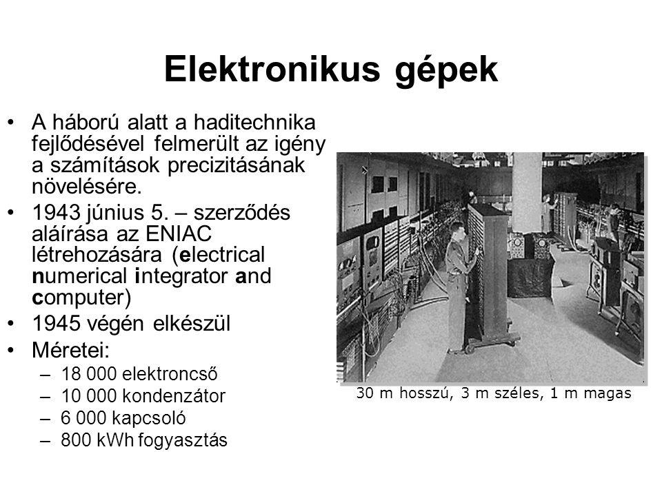 Elektronikus gépek A háború alatt a haditechnika fejlődésével felmerült az igény a számítások precizitásának növelésére.