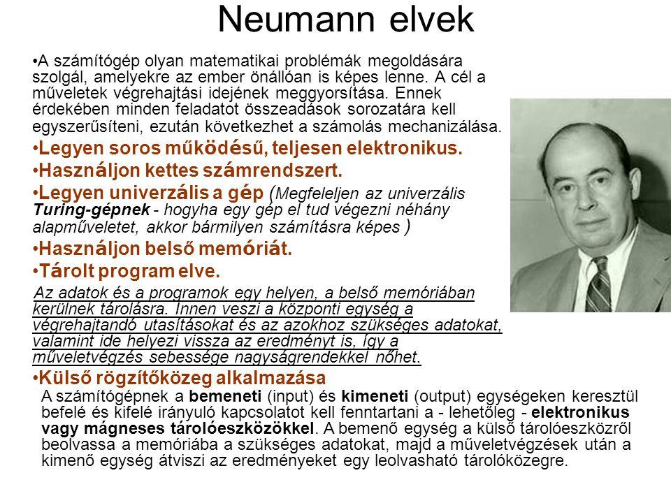 Neumann elvek A számítógép olyan matematikai problémák megoldására szolgál, amelyekre az ember önállóan is képes lenne.