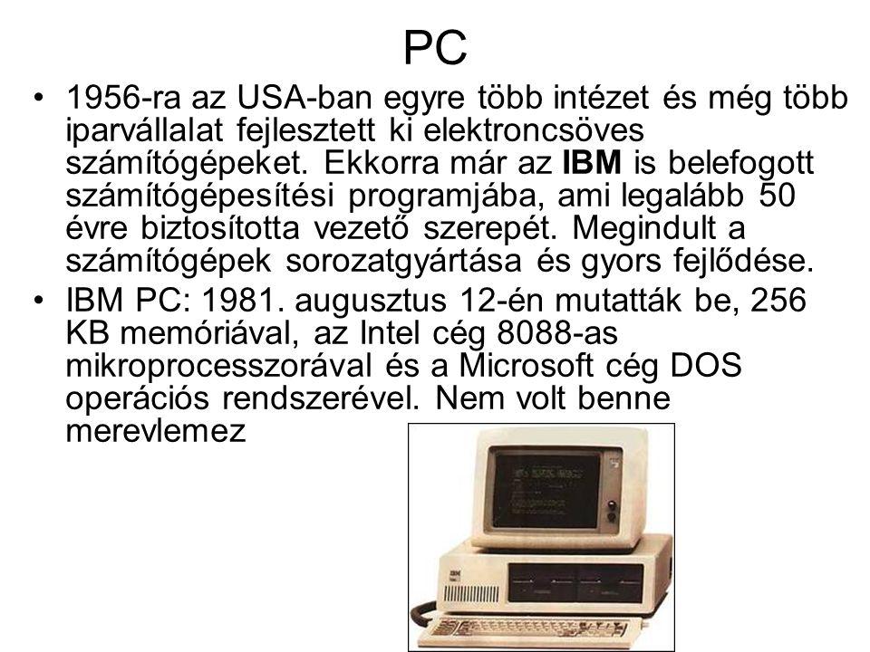 PC 1956-ra az USA-ban egyre több intézet és még több iparvállalat fejlesztett ki elektroncsöves számítógépeket.