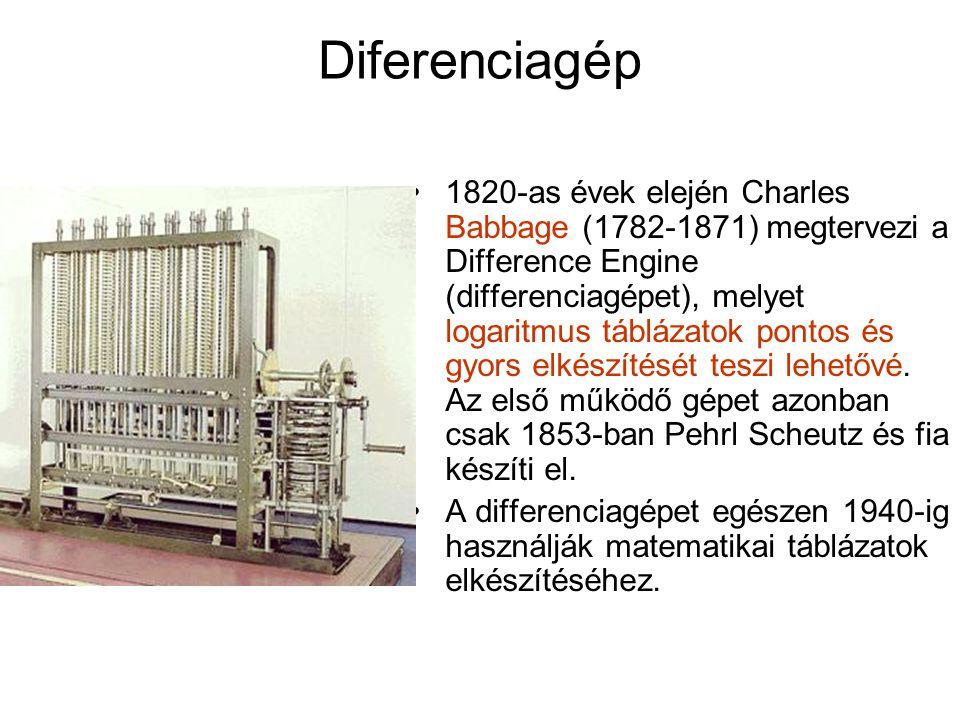 Diferenciagép 1820-as évek elején Charles Babbage (1782-1871) megtervezi a Difference Engine (differenciagépet), melyet logaritmus táblázatok pontos és gyors elkészítését teszi lehetővé.