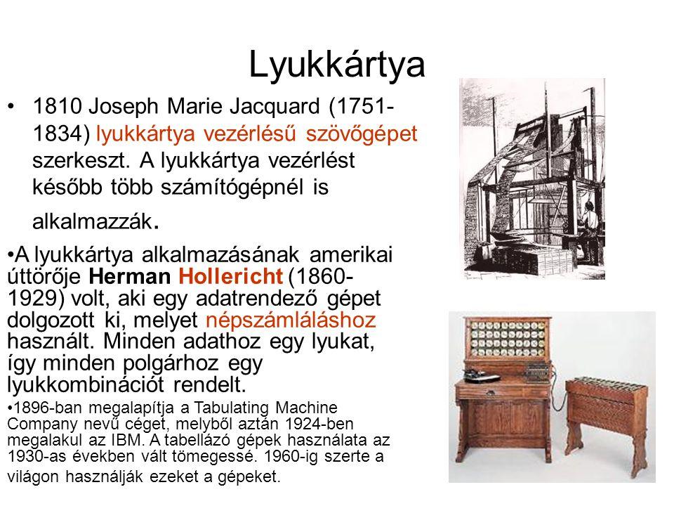 Lyukkártya 1810 Joseph Marie Jacquard (1751- 1834) lyukkártya vezérlésű szövőgépet szerkeszt.