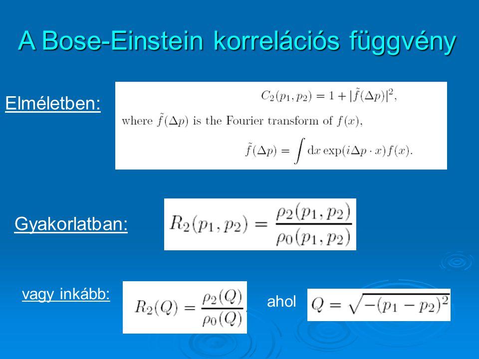 Elméletben: Gyakorlatban: vagy inkább: ahol A Bose-Einstein korrelációs függvény