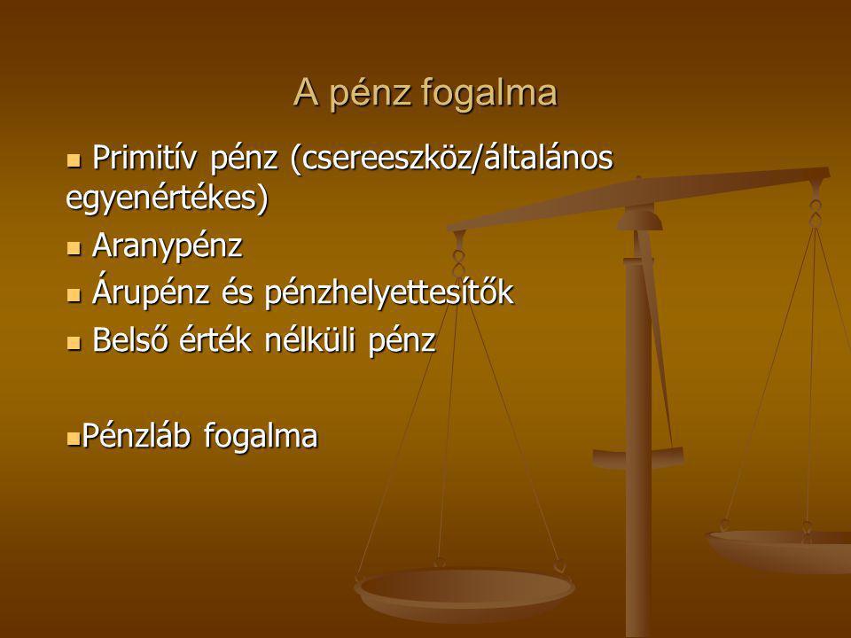 A pénz fogalma Primitív pénz (csereeszköz/általános egyenértékes) Primitív pénz (csereeszköz/általános egyenértékes) Aranypénz Aranypénz Árupénz és pé