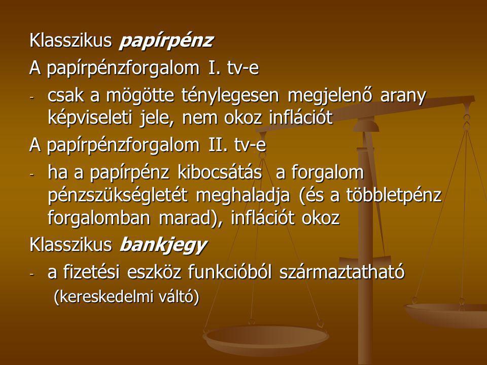 Currency elmélet (Peel-Act) Currency elmélet (Peel-Act) banking elmélet banking elmélet Aranyra átválthatóság eltörlése (modern pénz, vagy hitelpénz, a fejlődés harmadik szakasza)