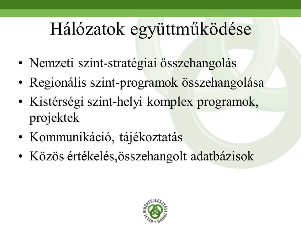 Hálózatok együttműködése Nemzeti szint-stratégiai összehangolás Regionális szint-programok összehangolása Kistérségi szint-helyi komplex programok, pr