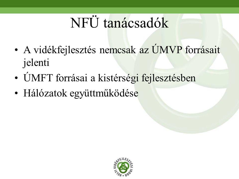 NFÜ tanácsadók A vidékfejlesztés nemcsak az ÚMVP forrásait jelenti ÚMFT forrásai a kistérségi fejlesztésben Hálózatok együttműködése