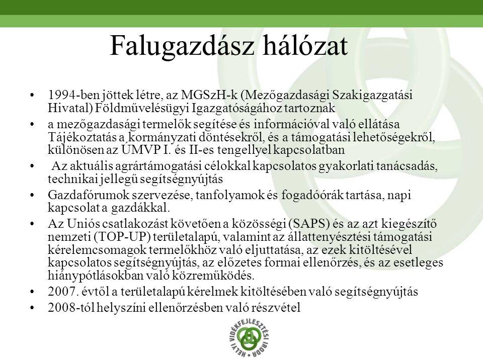 Falugazdász hálózat 1994-ben jöttek létre, az MGSzH-k (Mezőgazdasági Szakigazgatási Hivatal) Földművelésügyi Igazgatóságához tartoznak a mezőgazdasági
