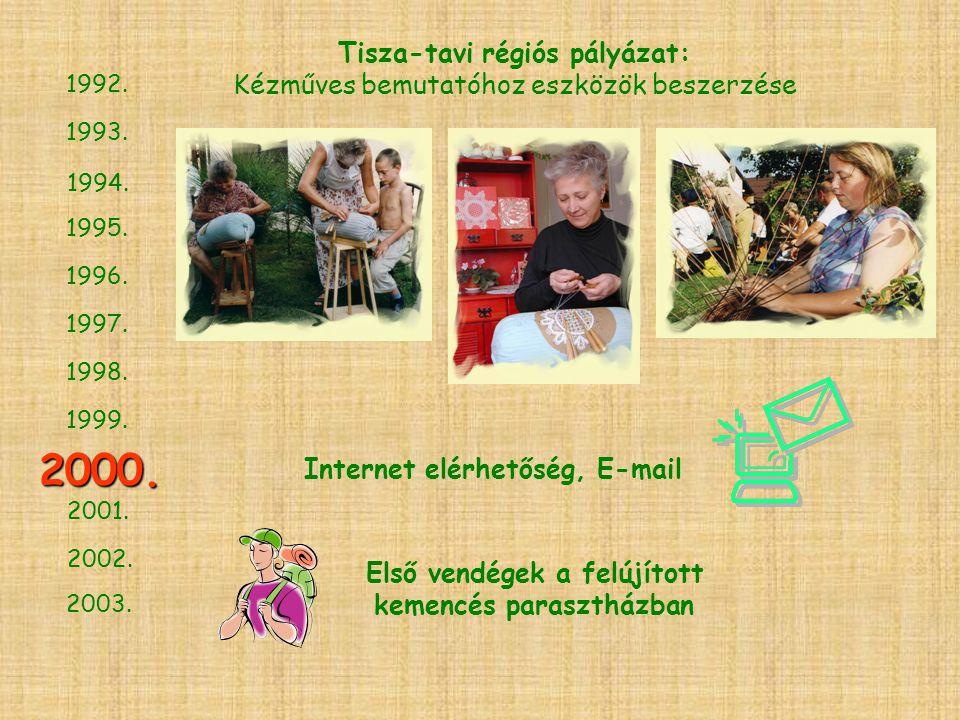 1994. 1993. 1995. 1996. 1997. 1998. 1999. 2001. 2002. 2003. 2000. 1992. Tisza-tavi régiós pályázat: Kézműves bemutatóhoz eszközök beszerzése Internet