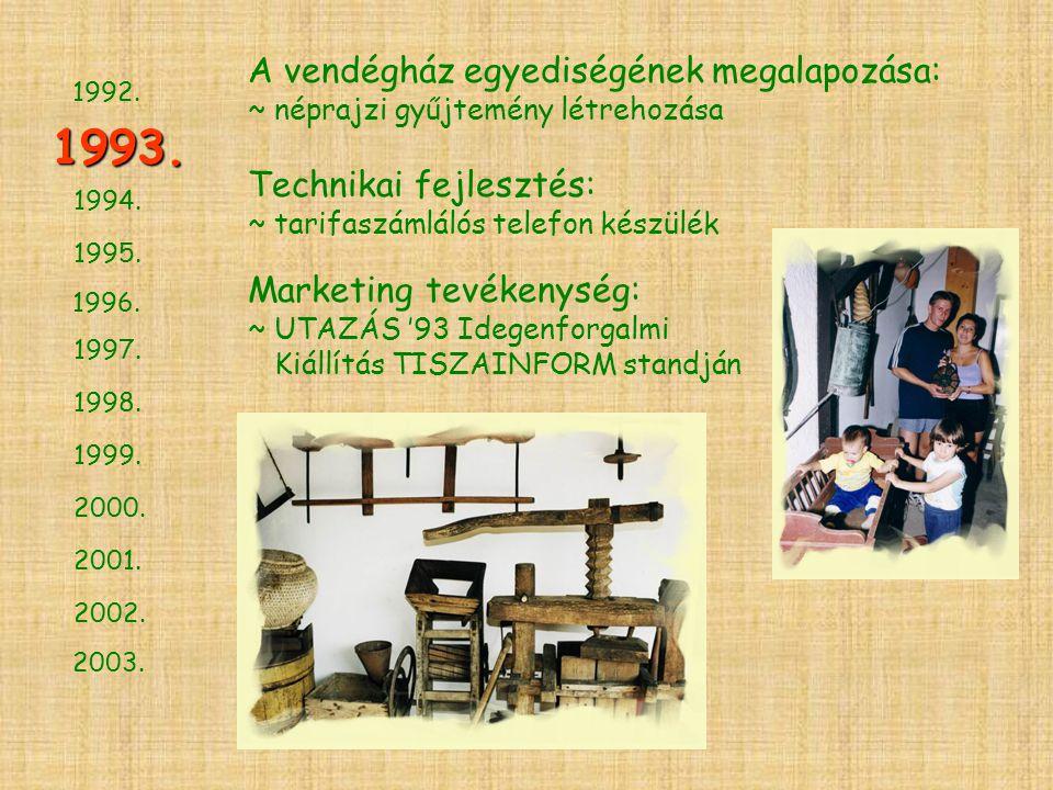 1994. 1995. 1996. 1997. 1998. 1999. 2000. 2001. 2002. 2003. 1993. 1992. A vendégház egyediségének megalapozása: ~ néprajzi gyűjtemény létrehozása Tech