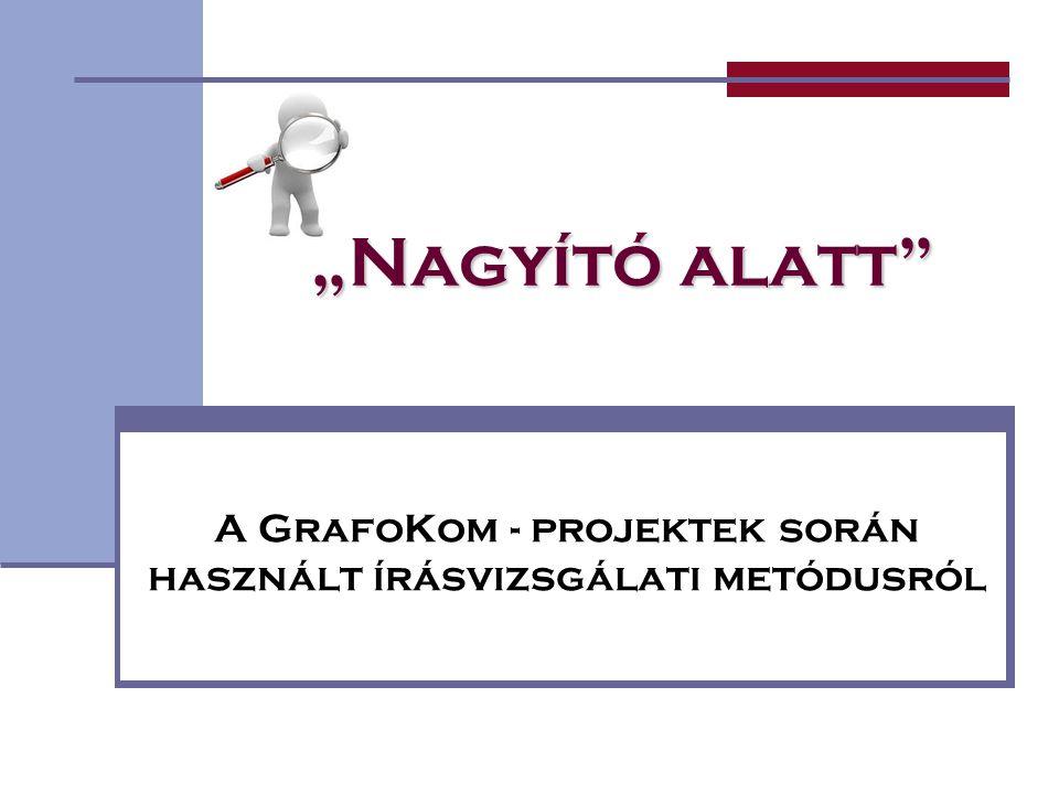 """""""Nagyító alatt"""" A GrafoKom - projektek során használt írásvizsgálati metódusról"""