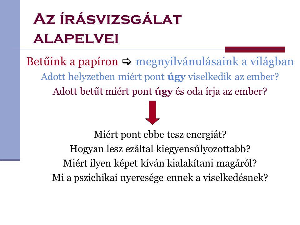 Az írásvizsgálat módszere GRAFIKUS ÁBRÁZOLÁS MÉRÉS PARAMÉTEREK ALAPJÁN PSZICHOLÓGIAI KIÉRTÉKELÉS REZONOMETRIKUS ÍRÁSELEMZÉS  OBJEKTÍV  MEGISMÉTELHETŐ  TUDOMÁNYOSAN IGAZOLT