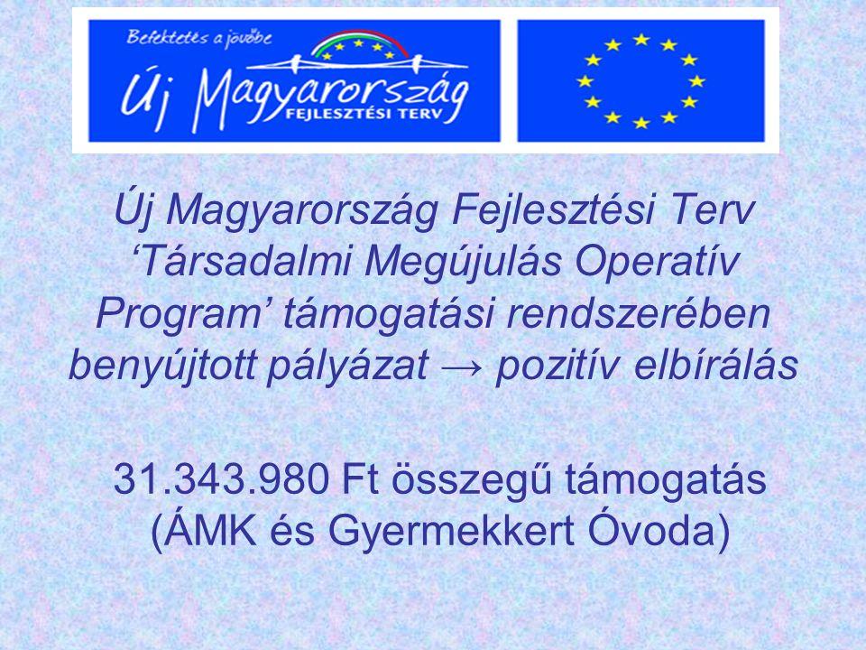 Új Magyarország Fejlesztési Terv 'Társadalmi Megújulás Operatív Program' támogatási rendszerében benyújtott pályázat → pozitív elbírálás 31.343.980 Ft összegű támogatás (ÁMK és Gyermekkert Óvoda)