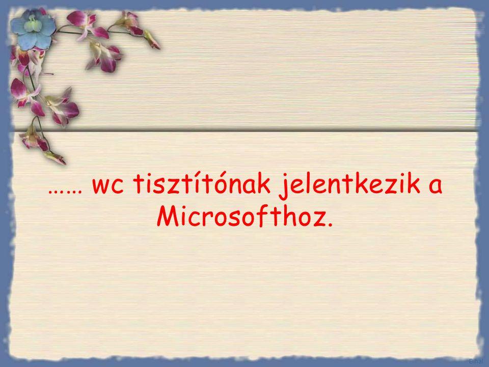 …… wc tisztítónak jelentkezik a Microsofthoz. Bihal