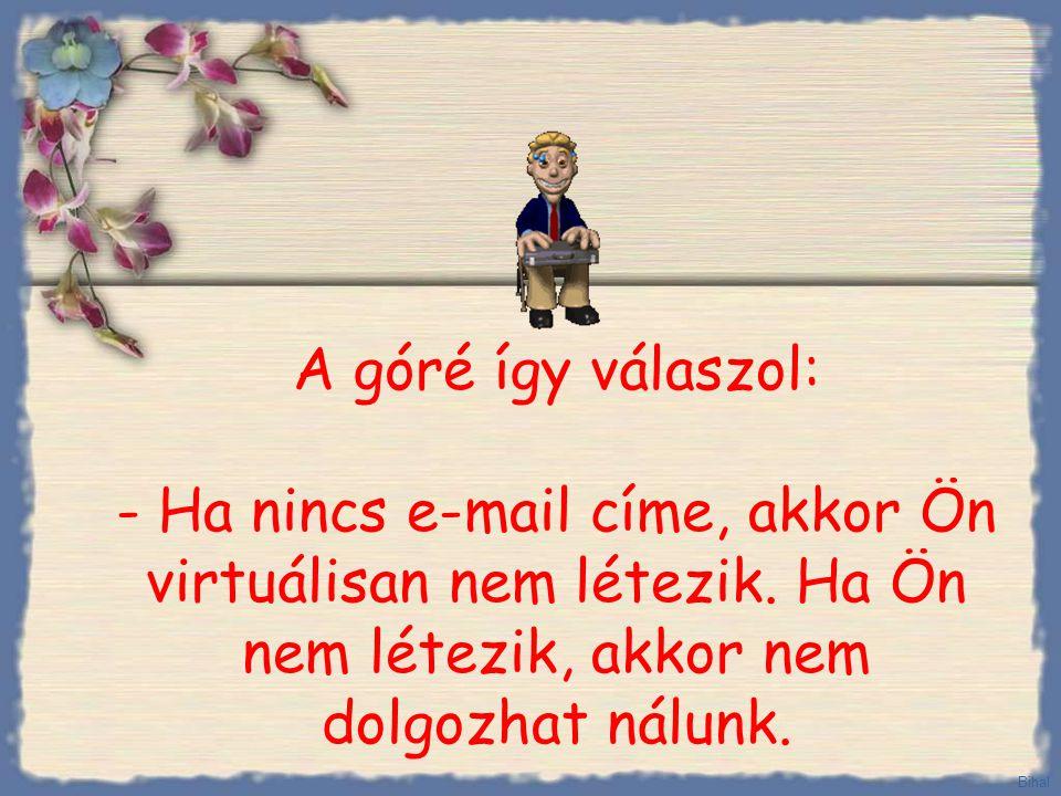 A góré így válaszol: - Ha nincs e-mail címe, akkor Ön virtuálisan nem létezik.
