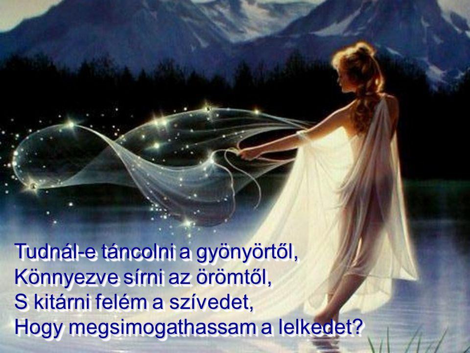 Tudnál-e táncolni a gyönyörtől, Könnyezve sírni az örömtől, S kitárni felém a szívedet, Hogy megsimogathassam a lelkedet.