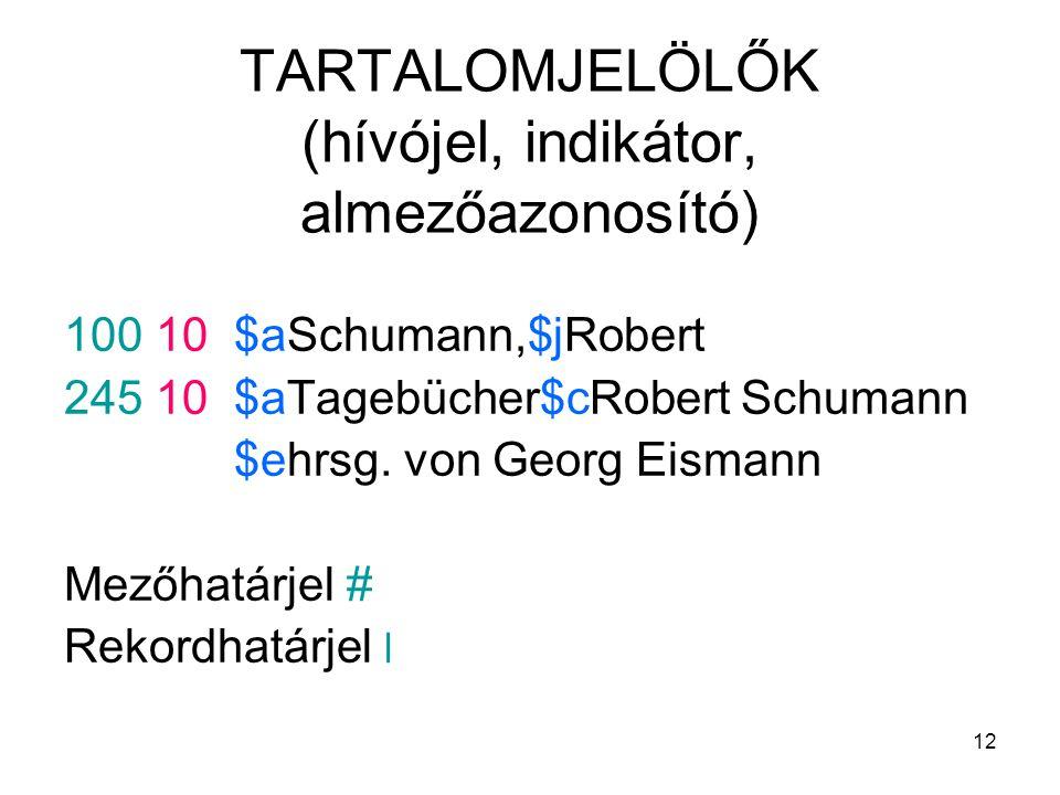 12 TARTALOMJELÖLŐK (hívójel, indikátor, almezőazonosító) 100 10 $aSchumann,$jRobert 245 10 $aTagebücher$cRobert Schumann $ehrsg. von Georg Eismann Mez