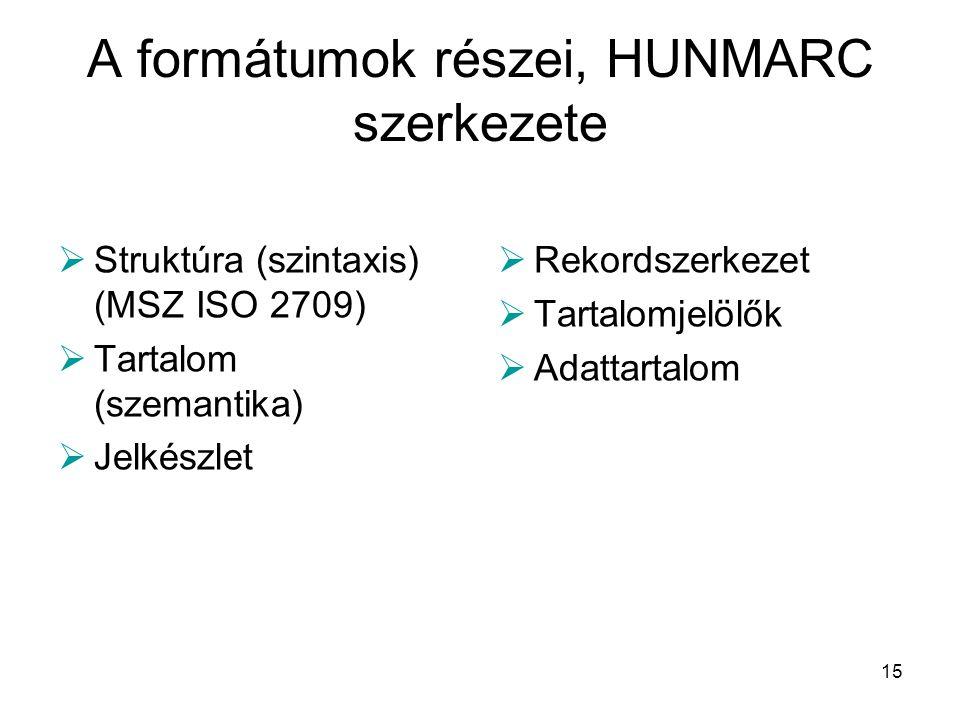 15 A formátumok részei, HUNMARC szerkezete  Struktúra (szintaxis) (MSZ ISO 2709)  Tartalom (szemantika)  Jelkészlet  Rekordszerkezet  Tartalomjel