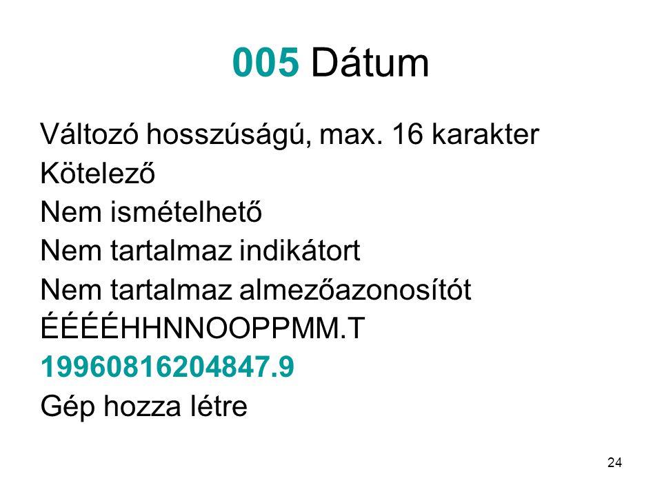 24 005 Dátum Változó hosszúságú, max. 16 karakter Kötelező Nem ismételhető Nem tartalmaz indikátort Nem tartalmaz almezőazonosítót ÉÉÉÉHHNNOOPPMM.T 19