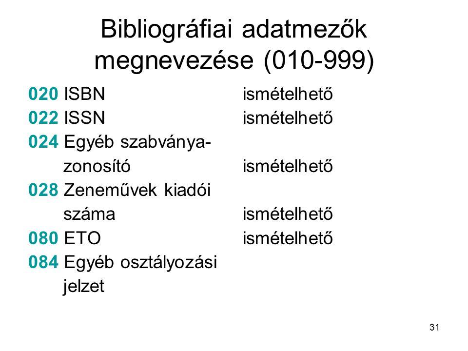 31 Bibliográfiai adatmezők megnevezése (010-999) 020 ISBN 022 ISSN 024 Egyéb szabványa- zonosító 028 Zeneművek kiadói száma 080 ETO 084 Egyéb osztályo
