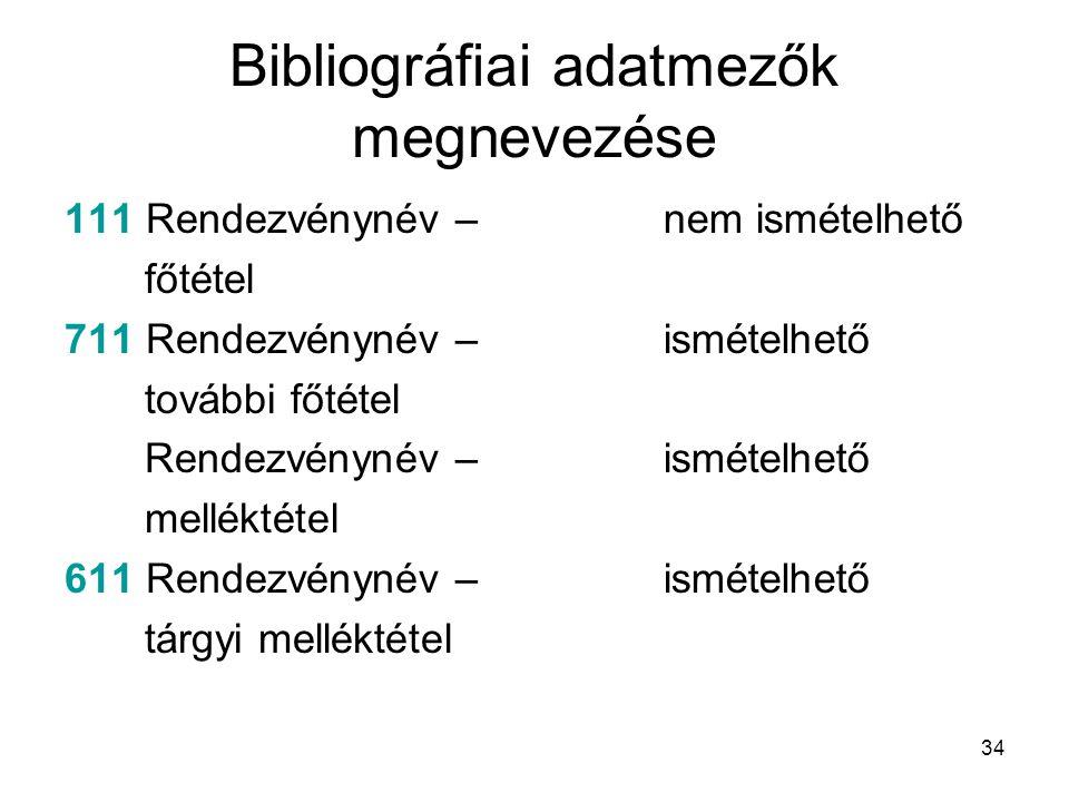 34 Bibliográfiai adatmezők megnevezése 111 Rendezvénynév – főtétel 711 Rendezvénynév – további főtétel Rendezvénynév – melléktétel 611 Rendezvénynév –