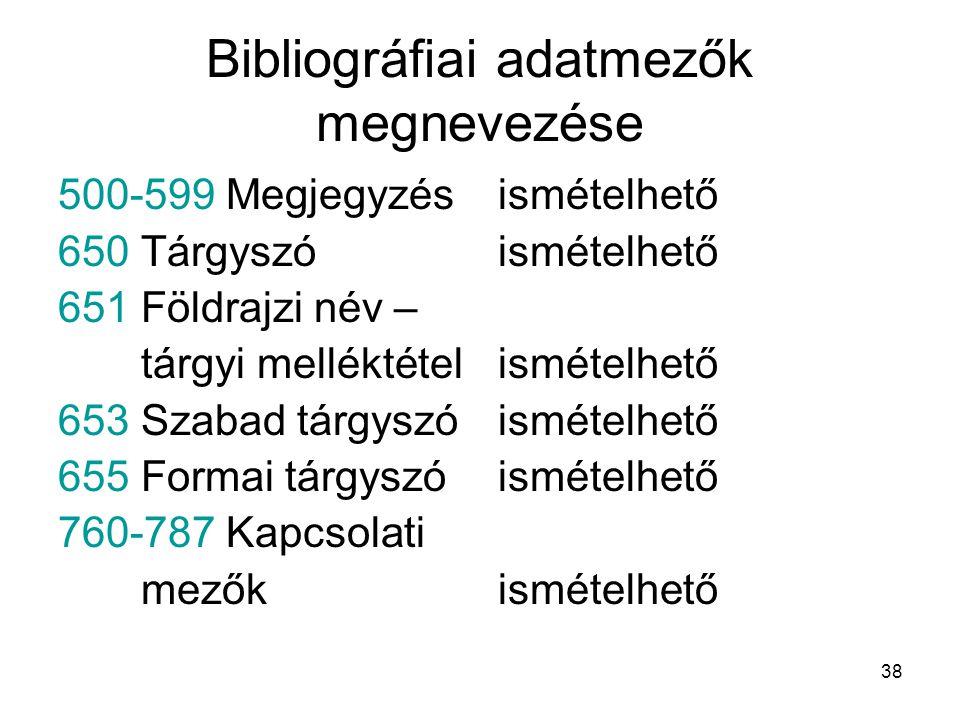38 Bibliográfiai adatmezők megnevezése 500-599 Megjegyzés 650 Tárgyszó 651 Földrajzi név – tárgyi melléktétel 653 Szabad tárgyszó 655 Formai tárgyszó
