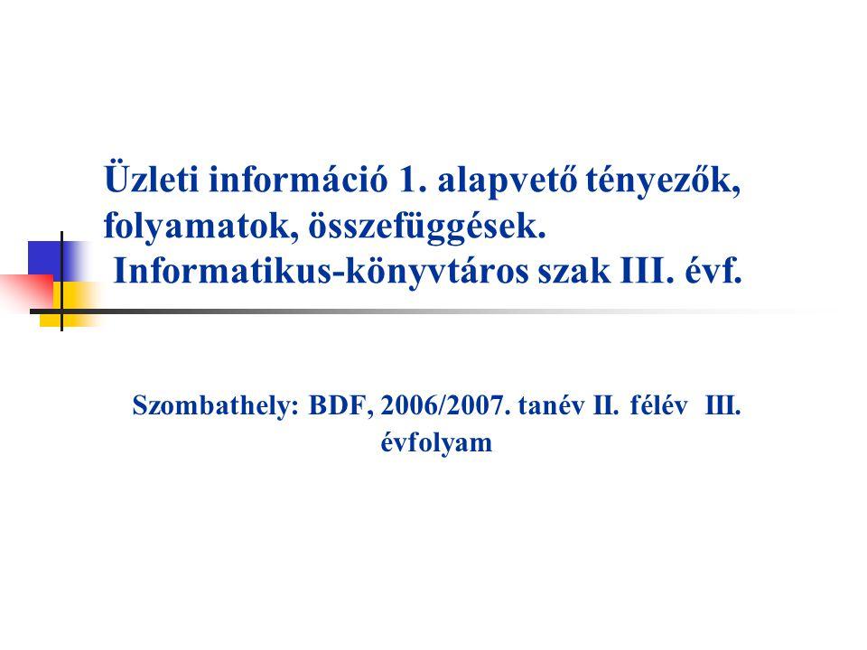 Üzleti információ 1. alapvető tényezők, folyamatok, összefüggések. Informatikus-könyvtáros szak III. évf. Szombathely: BDF, 2006/2007. tanév II. félév