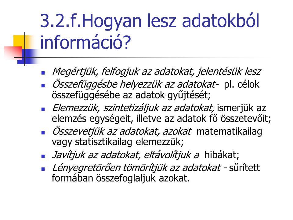 3.2.f.Hogyan lesz adatokból információ? Megértjük, felfogjuk az adatokat, jelentésük lesz Összefüggésbe helyezzük az adatokat- pl. célok összefüggéséb