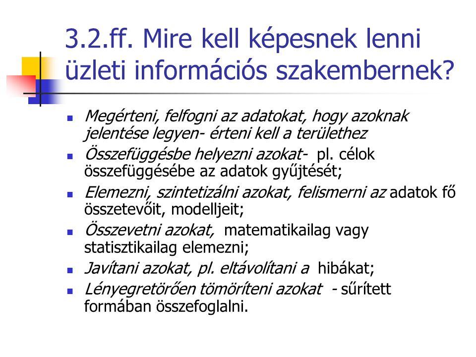 3.2.ff. Mire kell képesnek lenni üzleti információs szakembernek? Megérteni, felfogni az adatokat, hogy azoknak jelentése legyen- érteni kell a terüle