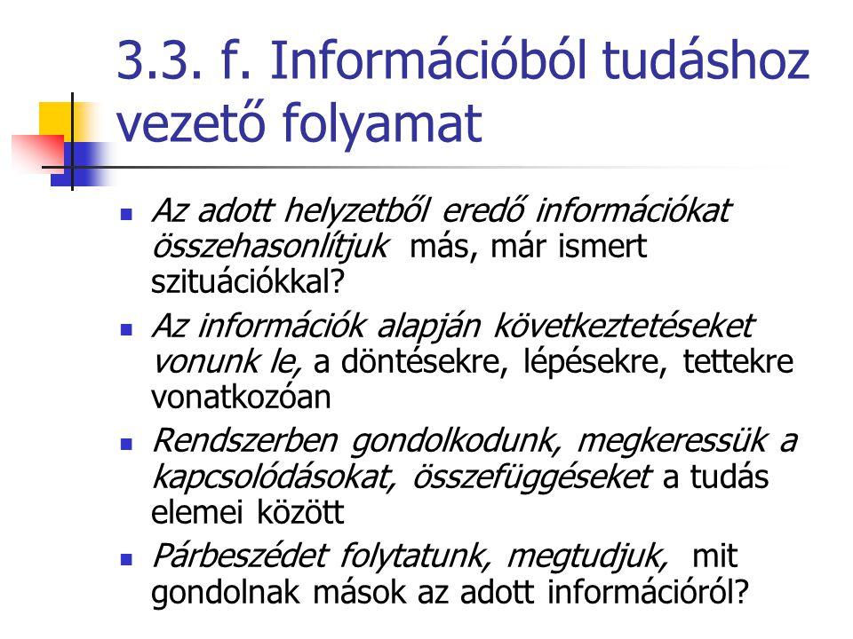 3.3. f. Információból tudáshoz vezető folyamat Az adott helyzetből eredő információkat összehasonlítjuk más, már ismert szituációkkal? Az információk