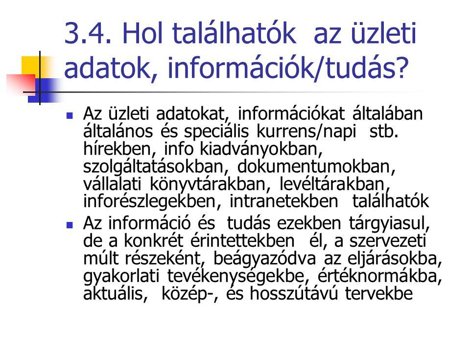 3.4. Hol találhatók az üzleti adatok, információk/tudás? Az üzleti adatokat, információkat általában általános és speciális kurrens/napi stb. hírekben