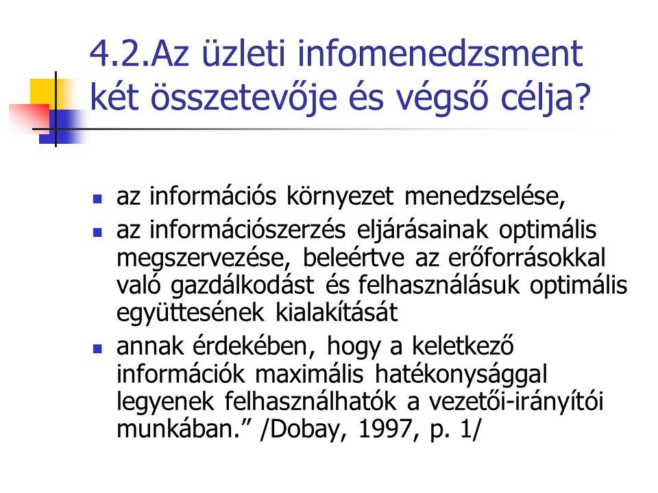 4.2.Az üzleti infomenedzsment két összetevője és végső célja? az információs környezet menedzselése, az információszerzés eljárásainak optimális megsz