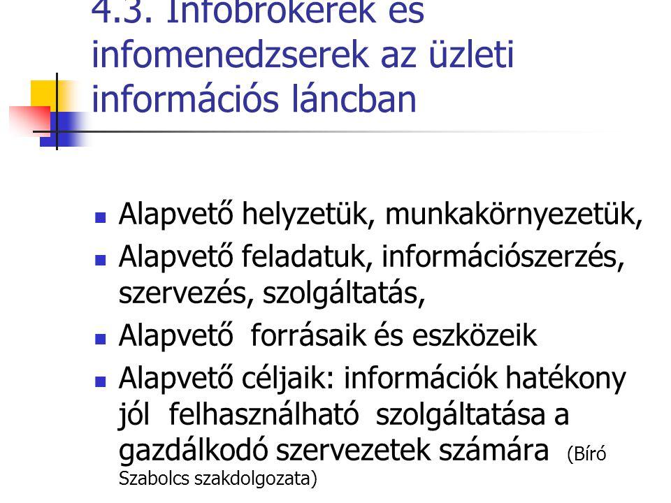 4.3. Infobrokerek és infomenedzserek az üzleti információs láncban Alapvető helyzetük, munkakörnyezetük, Alapvető feladatuk, információszerzés, szerve