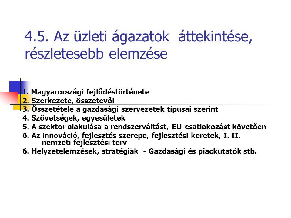 4.5. Az üzleti ágazatok áttekintése, részletesebb elemzése 1. Magyarországi fejlődéstörténete 2. Szerkezete, összetevői 3. Összetétele a gazdasági sze