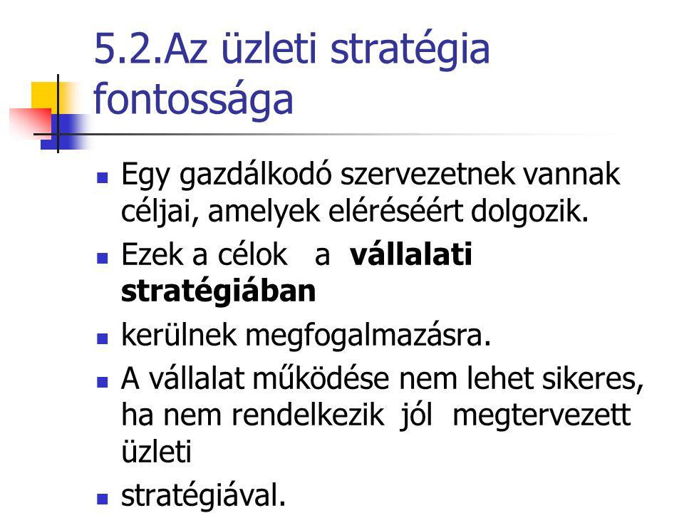 5.2.Az üzleti stratégia fontossága Egy gazdálkodó szervezetnek vannak céljai, amelyek eléréséért dolgozik. Ezek a célok a vállalati stratégiában kerül