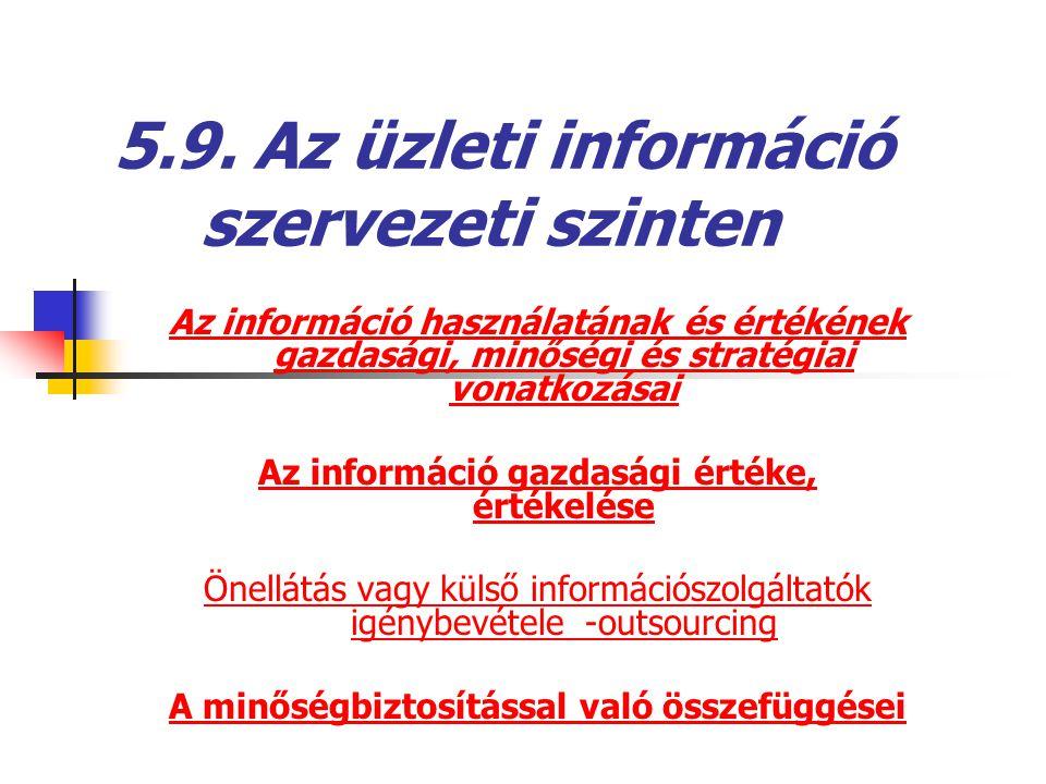 5.9. Az üzleti információ szervezeti szinten Az információ használatának és értékének gazdasági, minőségi és stratégiai vonatkozásai Az információ gaz