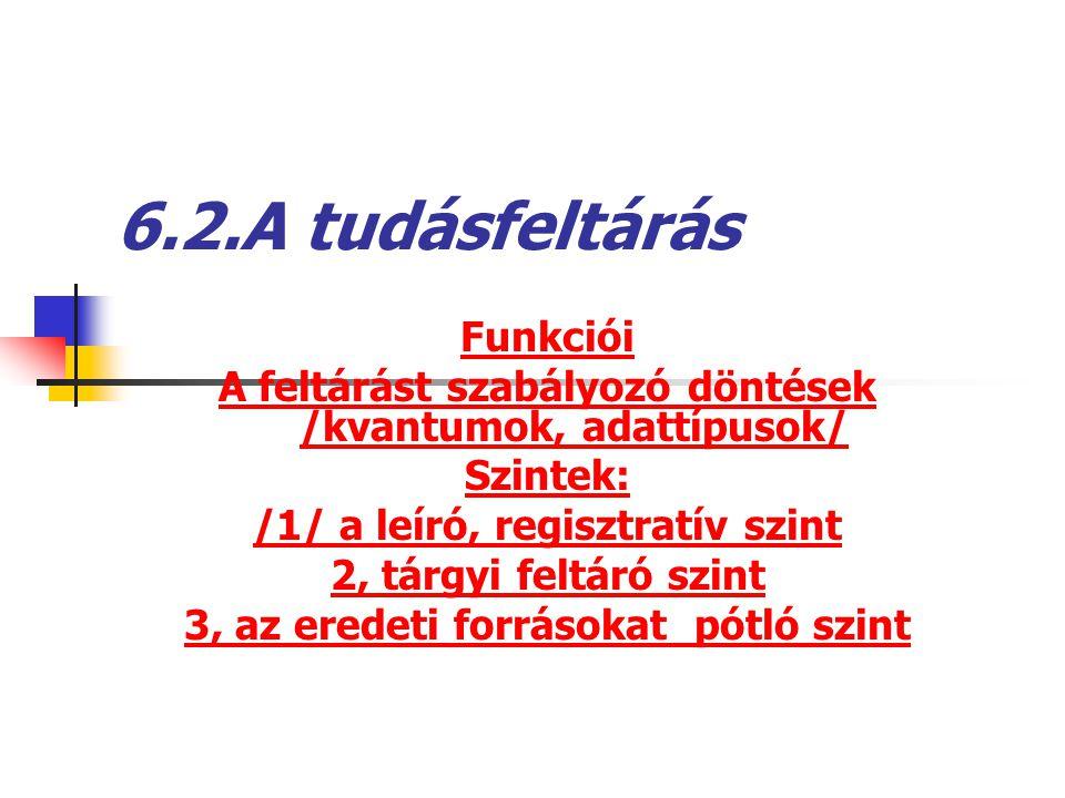 6.2.A tudásfeltárás Funkciói A feltárást szabályozó döntések /kvantumok, adattípusok/ Szintek: /1/ a leíró, regisztratív szint 2, tárgyi feltáró szint