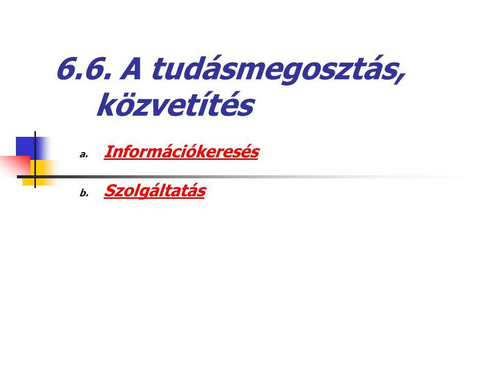 6.6. A tudásmegosztás, közvetítés a. Információkeresés b. Szolgáltatás