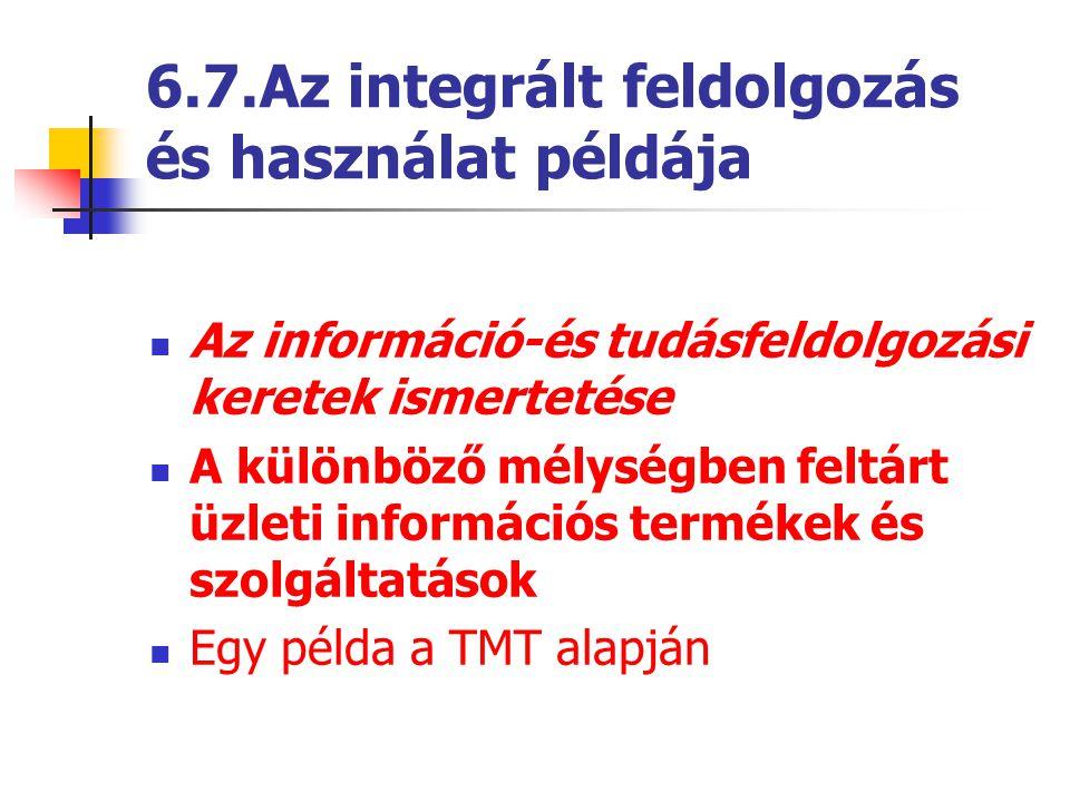 6.7.Az integrált feldolgozás és használat példája Az információ-és tudásfeldolgozási keretek ismertetése A különböző mélységben feltárt üzleti informá