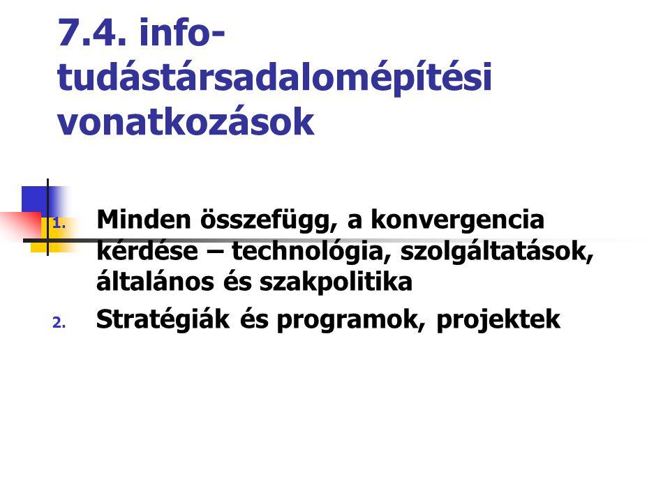 7.4. info- tudástársadalomépítési vonatkozások 1. Minden összefügg, a konvergencia kérdése – technológia, szolgáltatások, általános és szakpolitika 2.