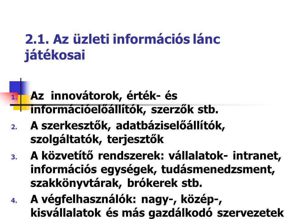 2.1. Az üzleti információs lánc játékosai 1. Az innovátorok, érték- és információelőállítók, szerzők stb. 2. A szerkesztők, adatbáziselőállítók, szolg