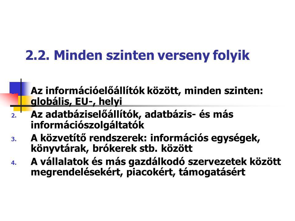 2.2. Minden szinten verseny folyik 1. Az információelőállítók között, minden szinten: globális, EU-, helyi 2. Az adatbáziselőállítók, adatbázis- és má