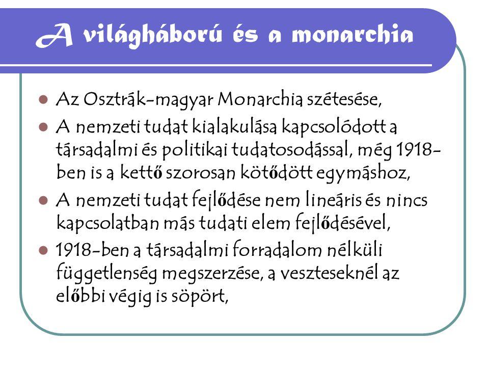 A világháború és a monarchia Az Osztrák-magyar Monarchia szétesése, A nemzeti tudat kialakulása kapcsolódott a társadalmi és politikai tudatosodással,