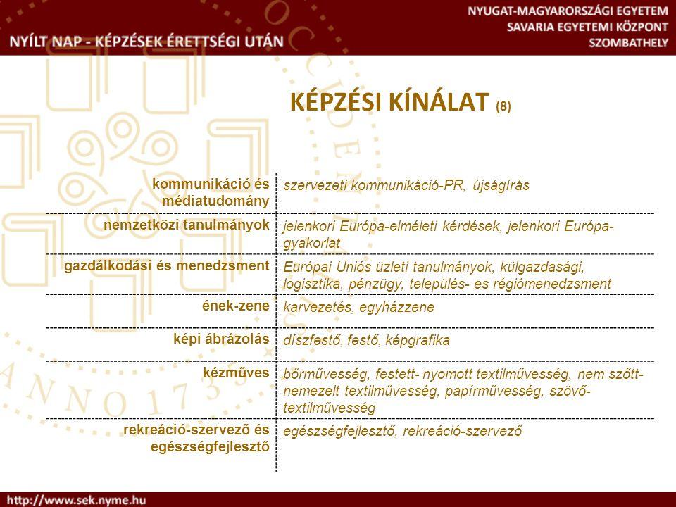 KÉPZÉSI KÍNÁLAT (8) kommunikáció és médiatudomány szervezeti kommunikáció-PR, újságírás nemzetközi tanulmányokjelenkori Európa-elméleti kérdések, jele