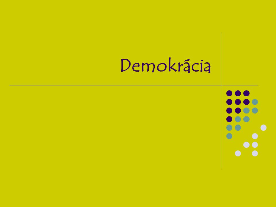 Az Ókor esete a demokráciával Etimológiai eredete: magyarul népuralmat jelent, a démosz és a kratosz szóból származik, mon-archia, olig-archia, A démosz kifejezés kett ő s értelm ű, Egyfel ő l a polgárság egészét jelenti, Másfel ő l jelentette a köznépet, a sokakat, a szegényeket, A hagyomány a kifejezés megjelenését az arisztokrata Kleiszthenész nevéhez köti, Kr.e.
