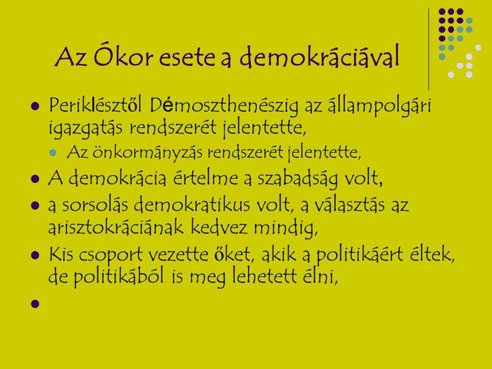 Az Ókor esete a demokráciával Perik l észt ő l D é moszthenészig az állampolgári igazgatás rendszerét jelentette, Az önkormányzás rendszerét jelentett